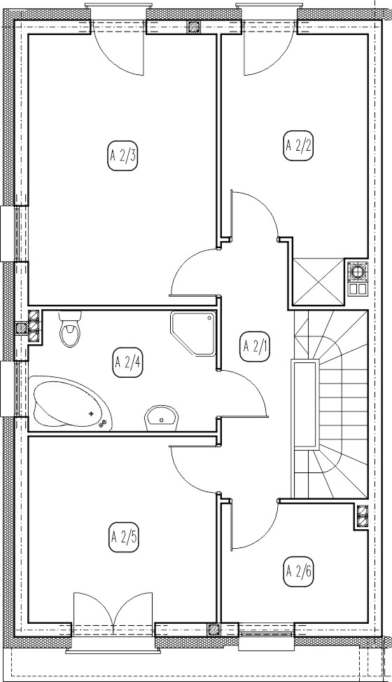 segment lewy – dom nr A14 – rzut piętra