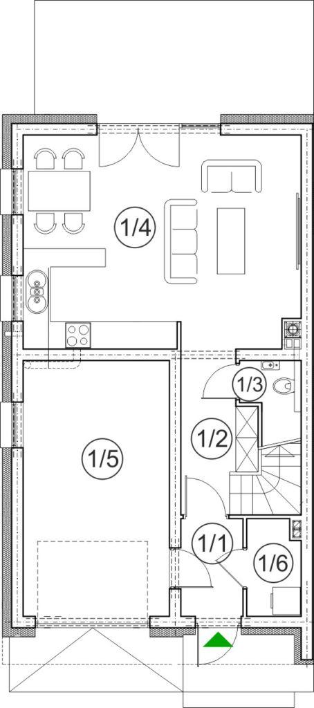 segment lewy – dom nr A16– rzut przyziemia