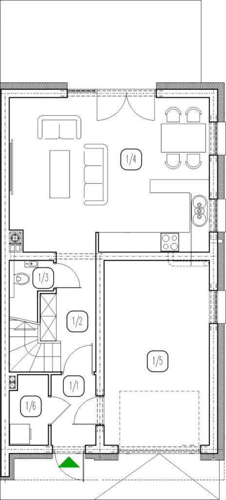 segment prawy – dom nr A15– rzut przyziemia