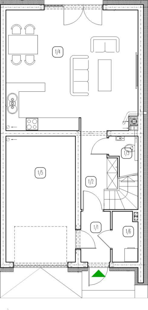 segment prawy – dom nr B6 – rzut przyziemia
